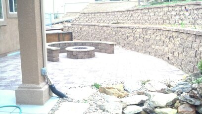 Patio, retaining wall, and fire pit.