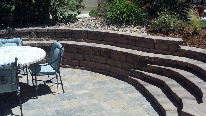 Patio and retaining wall.