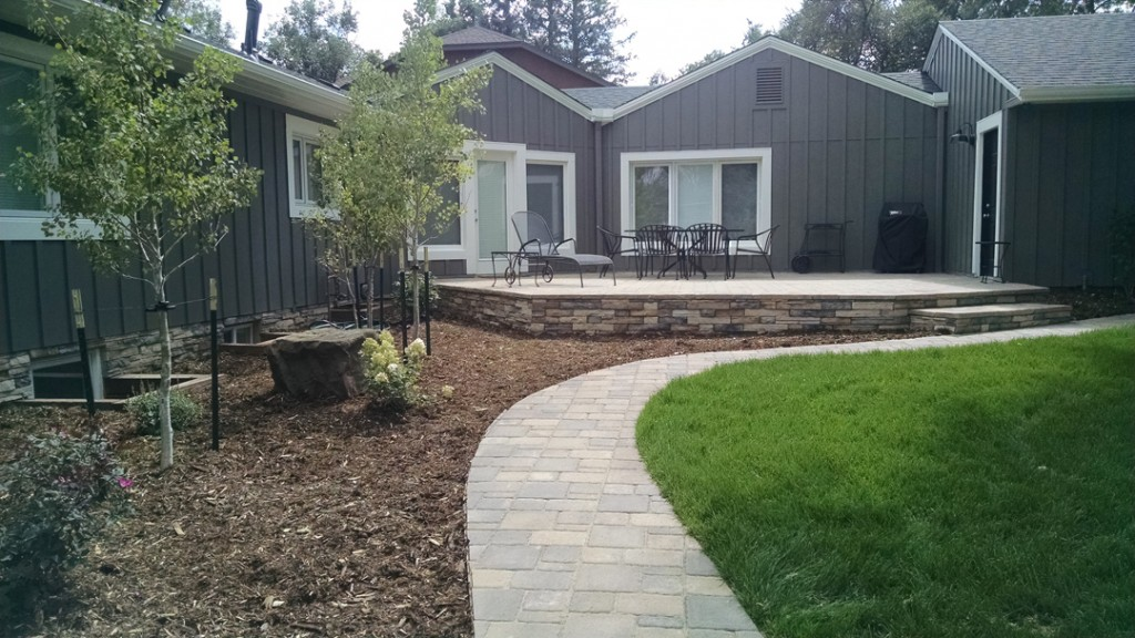 Paved path and deck facade.