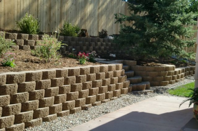 Retaining wall and planter.